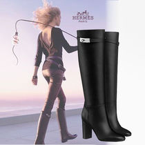 HERMES Plain Leather Elegant Style Chunky Heels Over-the-Knee Boots