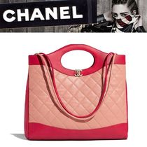 CHANEL Plain Leather Totes