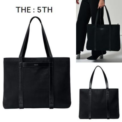Casual Style Unisex Blended Fabrics A4 Plain Totes