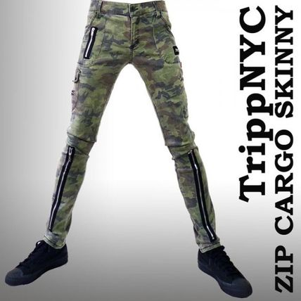 Camouflage Unisex Street Style Cotton Skinny Fit Pants