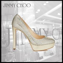 Jimmy Choo Platform Round Toe Leather Platform Pumps & Mules