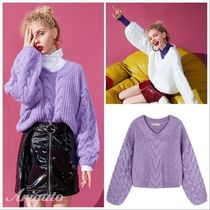 ELF SACK Cable Knit Casual Style Street Style V-Neck Long Sleeves