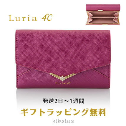 Plain Leather With Jewels Bold Folding Wallets