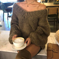 Cable Knit V-Neck Plain Medium Elegant Style Knitwear