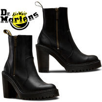 Dr Martens Casual Style Unisex Street Style Plain Leather Block Heels