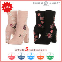CHINESE LAUNDRY Flower Patterns Round Toe Casual Style Chunky Heels