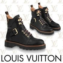 Louis Vuitton Monogram Plain Toe Mountain Boots Rubber Sole Casual Style