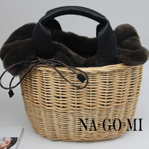 Casual Style Faux Fur 2WAY Plain Straw Bags
