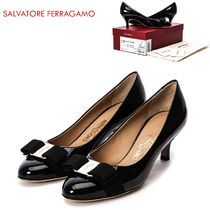 Salvatore Ferragamo Round Toe Plain Leather Pin Heels Party Style
