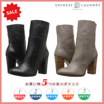 CHINESE LAUNDRY Round Toe Casual Style Plain Leather Chunky Heels