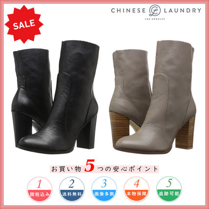 Round Toe Casual Style Plain Leather Chunky Heels