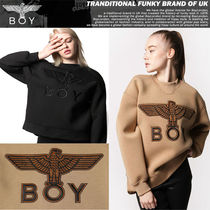 BOY LONDON Casual Style Studded U-Neck Long Sleeves Medium
