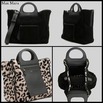MaxMara Leopard Patterns Suede 2WAY Elegant Style Handbags