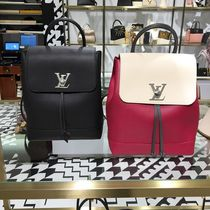Louis Vuitton LOCKME Calfskin Blended Fabrics 2WAY Bi-color Plain Elegant Style