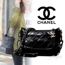 CHANEL Casual Style Street Style Chain Plain Leather Shoulder Bags