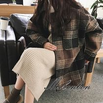 Other Check Patterns Casual Style Medium Wrap Coats