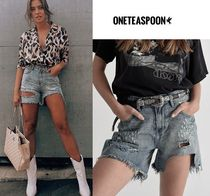 One Teaspoon Short Casual Style Street Style Plain Cotton