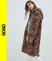 ASOS Leopard Patterns Faux Fur Long Cashmere & Fur Coats