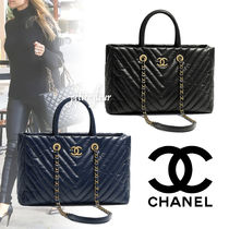 CHANEL Bag in Bag 2WAY Chain Plain Leather Office Style