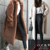 Casual Style Plain Long Fur Leather Jackets Oversized Coats