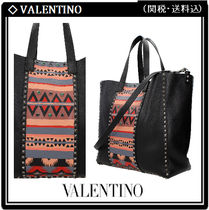 VALENTINO Studded A4 2WAY Leather With Jewels Totes