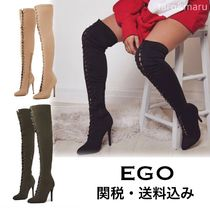 EGO Casual Style Plain Pin Heels Khaki Over-the-Knee Boots