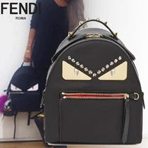 FENDI Casual Style Street Style 3WAY Plain Leather Backpacks
