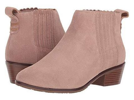 Round Toe Casual Style Suede Plain Block Heels