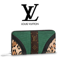 Louis Vuitton Monoglam Leopard Patterns Unisex Leather Long Wallets