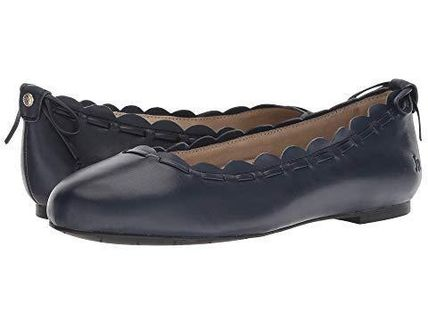 Round Toe Casual Style Plain Leather Flats