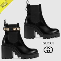 GUCCI Plain Toe Plain Leather Chelsea Boots Elegant Style