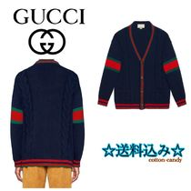 GUCCI Cable Knit Stripes Wool Street Style Long Sleeves Medium