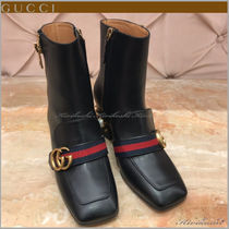 GUCCI Stripes Square Toe Casual Style Studded Plain Leather
