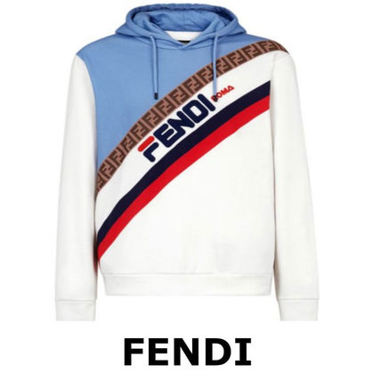6179757d86 ... FENDI Hoodies Pullovers Monogram Street Style Long Sleeves Cotton  Hoodies 5 ...