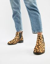 Accessorize Leopard Patterns Round Toe Casual Style Fur Blended Fabrics