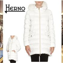 HERNO Faux Fur Plain Long Down Jackets
