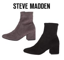 Steve Madden Plain Toe Casual Style Faux Fur Plain Block Heels