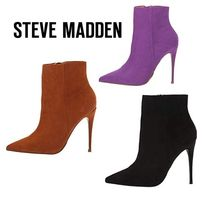 Steve Madden Faux Fur Plain Pin Heels Elegant Style Ankle & Booties Boots