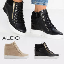ALDO Wedge Round Toe Faux Fur Plain Platform & Wedge Sneakers