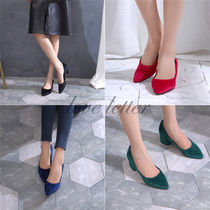 Square Toe Suede Plain Office Style Chunky Heels