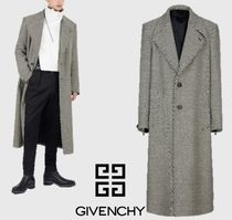 GIVENCHY Glen Patterns Wool Street Style Long Chester Coats