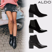 ALDO Plain Leather Block Heels Ankle & Booties Boots