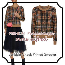 Burberry Other Check Patterns Casual Style Wool U-Neck Long Sleeves