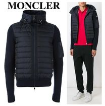 MONCLER Wool Blended Fabrics Long Sleeves Plain Logos on the Sleeves