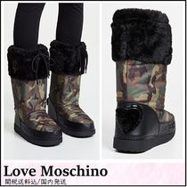 Love Moschino Camouflage Rubber Sole Faux Fur Street Style Outdoor Boots