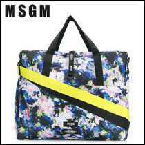 MSGM Flower Patterns Unisex Collaboration A4 2WAY Oversized Totes