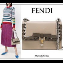 FENDI KAN I Blended Fabrics Studded 2WAY Plain Leather Elegant Style