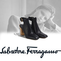 Salvatore Ferragamo Plain Leather Block Heels Elegant Style