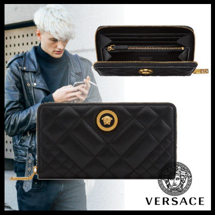 Street Style Plain Leather Long Wallets