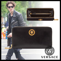 VERSACE Street Style Plain Leather Long Wallets